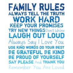 "Family Rules 20"" High Blue Canvas Wall Art"