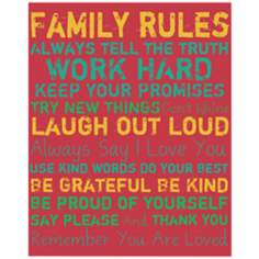 "Family Rules 20"" High Colorful II Canvas Wall Art"