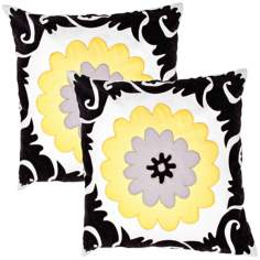 "Suzani Textural Lemon 18"" Square Throw Pillow"