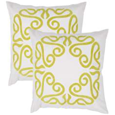"Suzani Textural Lime on Cream 18"" Square Throw Pillow"