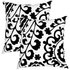 "Suzani Textural Black on Natural White 18"" Throw Pillow"
