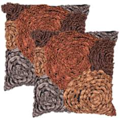 "Houston Textural Black 18"" Square Throw Pillow"