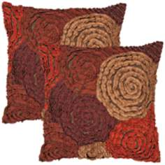 "Houston Textural Burgundy 18"" Square Throw Pillow"