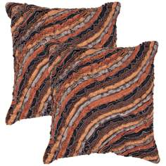 "Houston Textural Chocolate 18"" Square Throw Pillow"