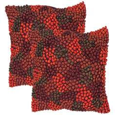 "Houston Textural Burgundy Multi 18"" Square Throw Pillow"