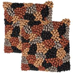 "Houston Textural Chocolate Multi 18"" Square Throw Pillow"