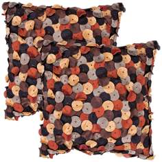 "Houston Textural Chocolate 18"" Square Cotton Throw Pillow"