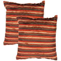 "Houston Textural Burgundy Strata 18"" Square Throw Pillow"