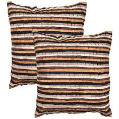 "Houston Textural Chocolate Strata 18"" Square Throw Pillow"