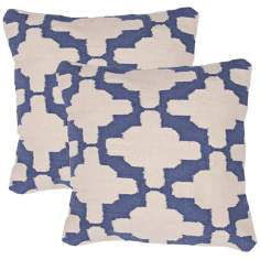 "Cadiz Textural Cream and Denim Blue 18"" Throw Pillow"