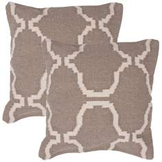 "Cadiz Textural Khaki and Cream 18"" Square Throw Pillow"