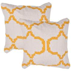 "Cadiz Textural Cream and Mango 18"" Square Throw Pillow"