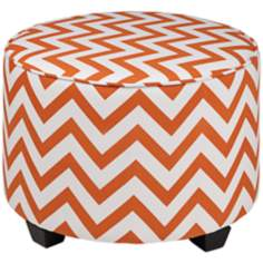 Edna Orange Chevron Ottoman