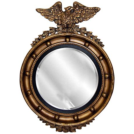 "Eagle 25 1/2"" High Tarnished Gold Round Wall Mirror"