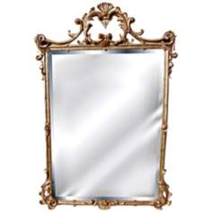 "English 39"" High Gold Leaf Rectangular Wall Mirror"