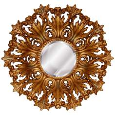 "Rococo 25"" High Flourishing Antique Gold Round Wall Mirror"