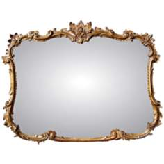 "Buffet 44"" Wide Antique Gold Rectangular Wall Mirror"