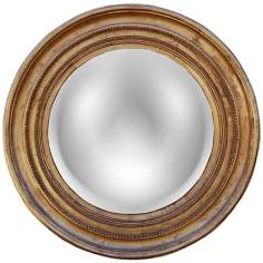 "Maiden 25 1/4"" High Gold Leaf Convex Round Wall Mirror"