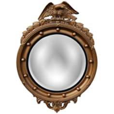 "Regency Eagle 31"" High Antique Gold Convex Wall Mirror"