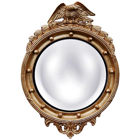 "Regency Eagle 31"" High Gold Leaf Convex Wall Mirror"