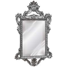 "Templar 39"" High Antique Silver Leaf Rectangular Wall Mirror"