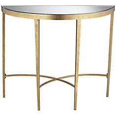Amelia Antique Gold Demilune Console Table