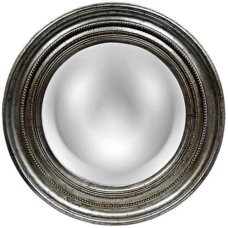 "Maiden 25 1/4"" Round Antique Silver Leaf Convex Mirror"