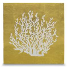 "Sea Fan Leaf Coral 23 1/2"" Square Coastal Wall Art"