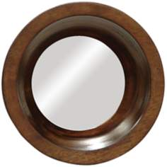 "Porthole 8"" Wide Gemelina Wood Frame Wall Mirror"