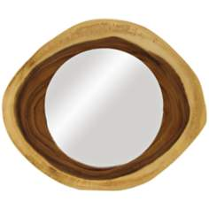 "Acacia 24"" Wide Natural Wood Frame Wall Mirror"