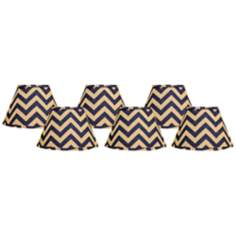 Set of 6 Indigo Chevron Lamp Shades 4x6x5.25 (Clip-On)