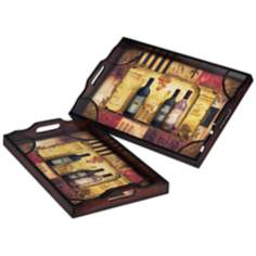 Set of 2 Wine Motif Serving Trays