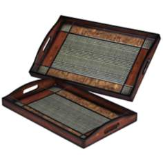 Set of 2 Brown and Black Checked Serving Trays