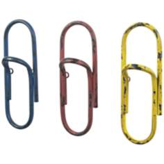 Set of 3 Paper Clip Office Wall Hooks