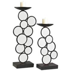 Set of 2 Iron And Mirror Circle Candle Holders