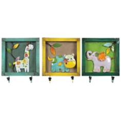 Set of 3 Animal Picture Rainbow Wall Hooks