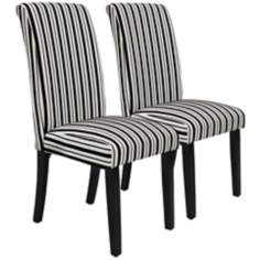 Set of 2 Black and White Tuxedo Stripe Side Chairs