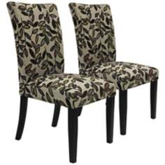 Set of 2 Tree Leaf Fabric Side Chairs