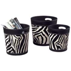 Set of 3 Zebra Stripe Magazine Holders