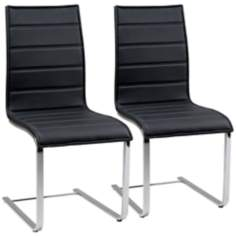 Set of 2 Mayweather Black Oak Steel Dining Chairs