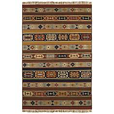 Southwestern Stripes Woolen Dhurry Rug