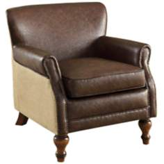 Tucker Natural Jute Antique Brown Club Chair