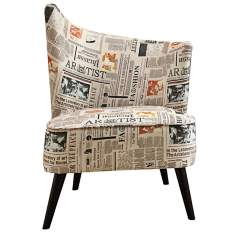 Flared Back Left Newspaper Accent Chair