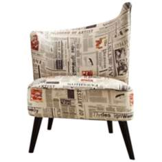 Flared Back Right Newspaper Accent Chair