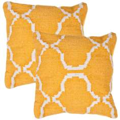 "Cadiz Textural Mango and Cream 18"" Square Throw Pillow"