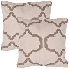 "Cadiz Textural Cream and Khaki 18"" Square Throw Pillow"