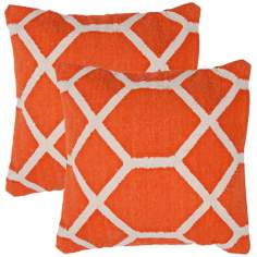 "Cadiz Textural Orange and Cream 18"" Square Throw Pillow"