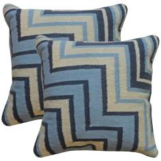 "Cadiz Textural Denim Indigo and Cream 18"" Throw Pillow"