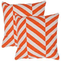 "Cadiz Textural Cream and Orange 18"" Square Throw Pillow"