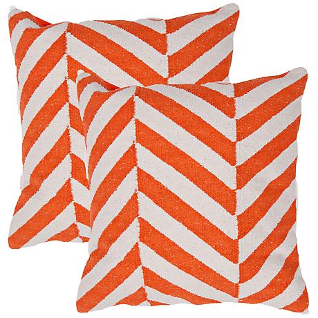 "Set of 2 Cadiz Textural Cream and Orange 18"" Throw Pillows"